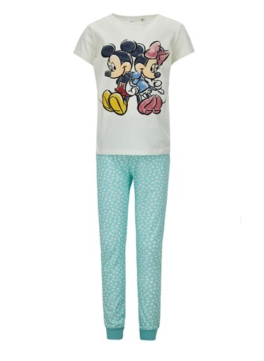 DeFacto Kız Çocuk Minnie Mouse Lisanslı Kısa Kol Pijama Takımı Beyaz